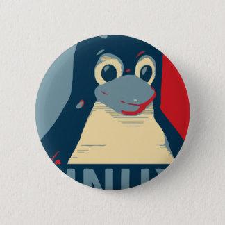 Chapa Redonda De 5 Cm Azul rojo de la cabeza del poster del pingüino de