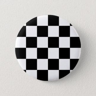 Chapa Redonda De 5 Cm Bandera a cuadros blanco y negro el competir con