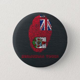 Chapa Redonda De 5 Cm Bandera bermude6na de la huella dactilar del tacto