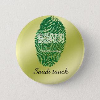 Chapa Redonda De 5 Cm Bandera de la huella dactilar del tacto del saudí