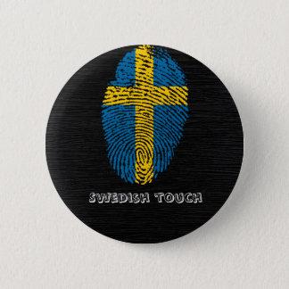 Chapa Redonda De 5 Cm Bandera de la huella dactilar del tacto del sueco