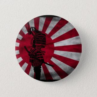 Chapa Redonda De 5 Cm Bandera del japonés del samurai