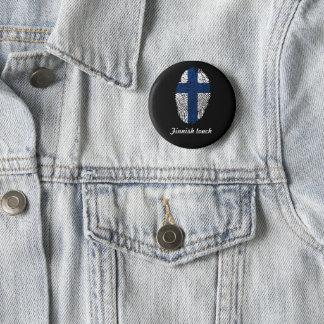 Chapa Redonda De 5 Cm Bandera finlandesa de la huella dactilar del tacto