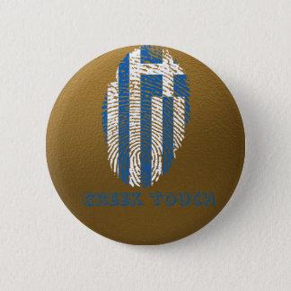 Chapa Redonda De 5 Cm Bandera griega de la huella dactilar del tacto