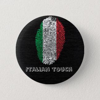 Chapa Redonda De 5 Cm Bandera italiana de la huella dactilar del tacto