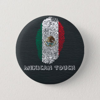 Chapa Redonda De 5 Cm bandera mexicana de la huella dactilar del tacto