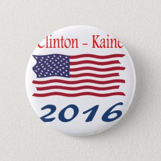 Chapa Redonda De 5 Cm Bandera que agita de Clinton Kaine