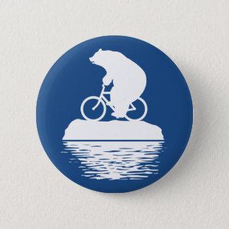 Chapa Redonda De 5 Cm Bicicleta del montar a caballo del oso polar en el