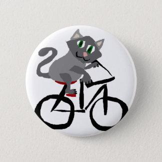 Chapa Redonda De 5 Cm Bicicleta gris divertida del montar a caballo del