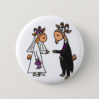 Chapa Redonda De 5 Cm Boda divertido de la cabra de novia y del novio