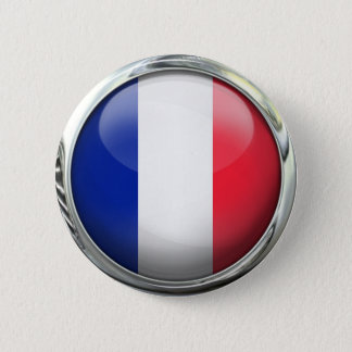 Chapa Redonda De 5 Cm Bola de cristal redonda de la bandera de Francia
