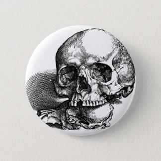 Chapa Redonda De 5 Cm Bosquejo del vintage del cráneo y de las quijadas