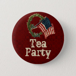 Chapa Redonda De 5 Cm Botones de la fiesta del té de la bandera