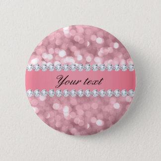 Chapa Redonda De 5 Cm Brillo rosado Bokeh y diamantes personalizados