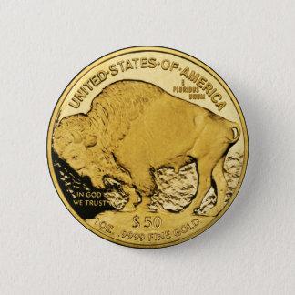 Chapa Redonda De 5 Cm Búfalo del americano de la moneda de oro $50