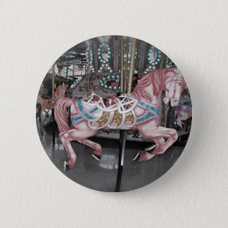 Chapa Redonda De 5 Cm Caballo rosado del carrusel