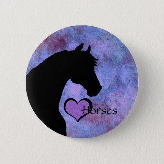 Chapa Redonda De 5 Cm Caballos del corazón II (púrpuras/azul)