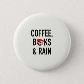 Chapa Redonda De 5 Cm Café, libros y lluvia