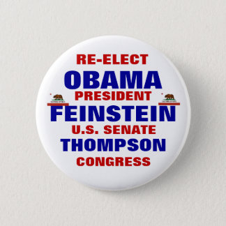 Chapa Redonda De 5 Cm California para Obama Feinstein Thompson