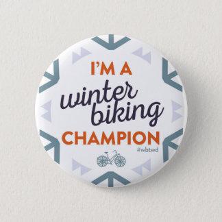 Chapa Redonda De 5 Cm Campeón Biking del invierno - Pin grande