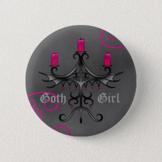 Chapa Redonda De 5 Cm Candelabros góticos hermosos en grunge gris