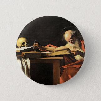 Chapa Redonda De 5 Cm Caravaggio - San Gerolamo - pintura del