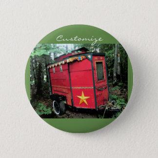 Chapa Redonda De 5 Cm Caravana minúscula gitana roja modificada para