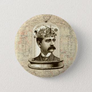 Chapa Redonda De 5 Cm Cerebro del mecanismo del steampunk del vintage,