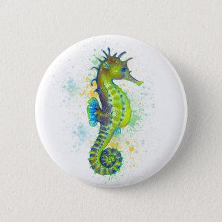 Chapa Redonda De 5 Cm Chapoteo del Seahorse del verde amarillo