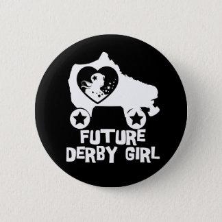 Chapa Redonda De 5 Cm Chica futuro de Derby, diseño del patinaje sobre