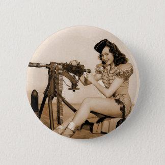 Chapa Redonda De 5 Cm Chica retro del artillero de máquina de las