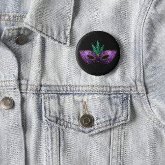 Chapa Redonda De 5 Cm Chispas púrpuras del oro verde de la máscara del