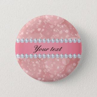 Chapa Redonda De 5 Cm Chispas rosadas y diamantes de Bokeh