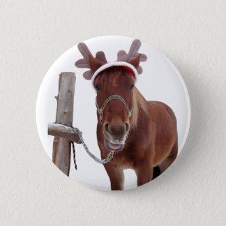 Chapa Redonda De 5 Cm Ciervos del caballo - caballo del navidad -