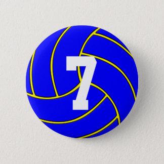 Chapa Redonda De 5 Cm Color del voleibol azul y Pin de encargo del