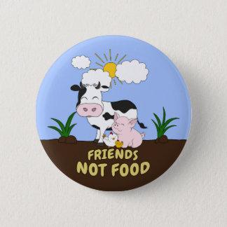 Chapa Redonda De 5 Cm Comida de los amigos no - vaca, cerdo y pollo