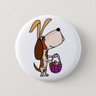 Chapa Redonda De 5 Cm Conejito de pascua divertido del perro de Basset
