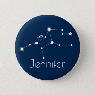 Chapa Redonda De 5 Cm Constelación personalizada del zodiaco del virgo