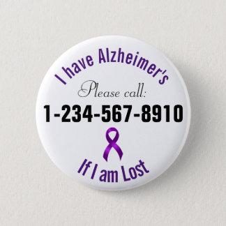 Chapa Redonda De 5 Cm Contacto de la emergencia de Alzheimers