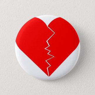 Chapa Redonda De 5 Cm Corazón agrietado y quebrado