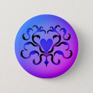 Chapa Redonda De 5 Cm Corazón azul bonito