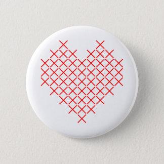 Chapa Redonda De 5 Cm Corazón de la puntada de la Cruz Roja