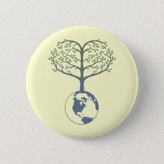 Chapa Redonda De 5 Cm Corazón del árbol de la tierra