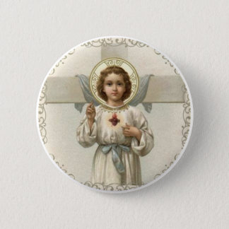 Chapa Redonda De 5 Cm Corazón sagrado del niño Jesús con la cruz