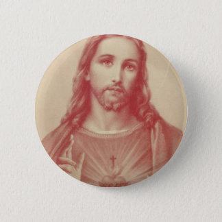 Chapa Redonda De 5 Cm Corazón sagrado del vintage de Jesús