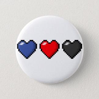 Chapa Redonda De 5 Cm Corazones del pixel de Polyamorous
