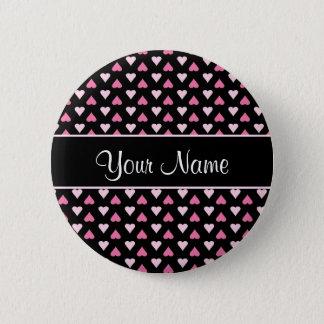 Chapa Redonda De 5 Cm Corazones rosados negros del amor