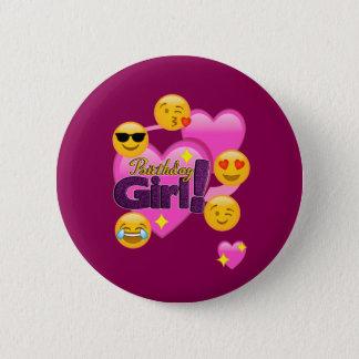 Chapa Redonda De 5 Cm Corazones y chica del cumpleaños de Emojis