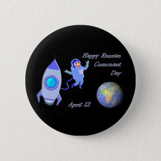 Chapa Redonda De 5 Cm Cosmonauta día 12 de abril ruso feliz