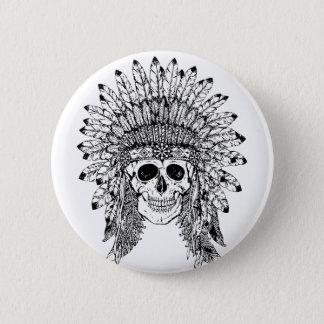 Chapa Redonda De 5 Cm Cráneo gótico del estilo tribal con el gráfico de